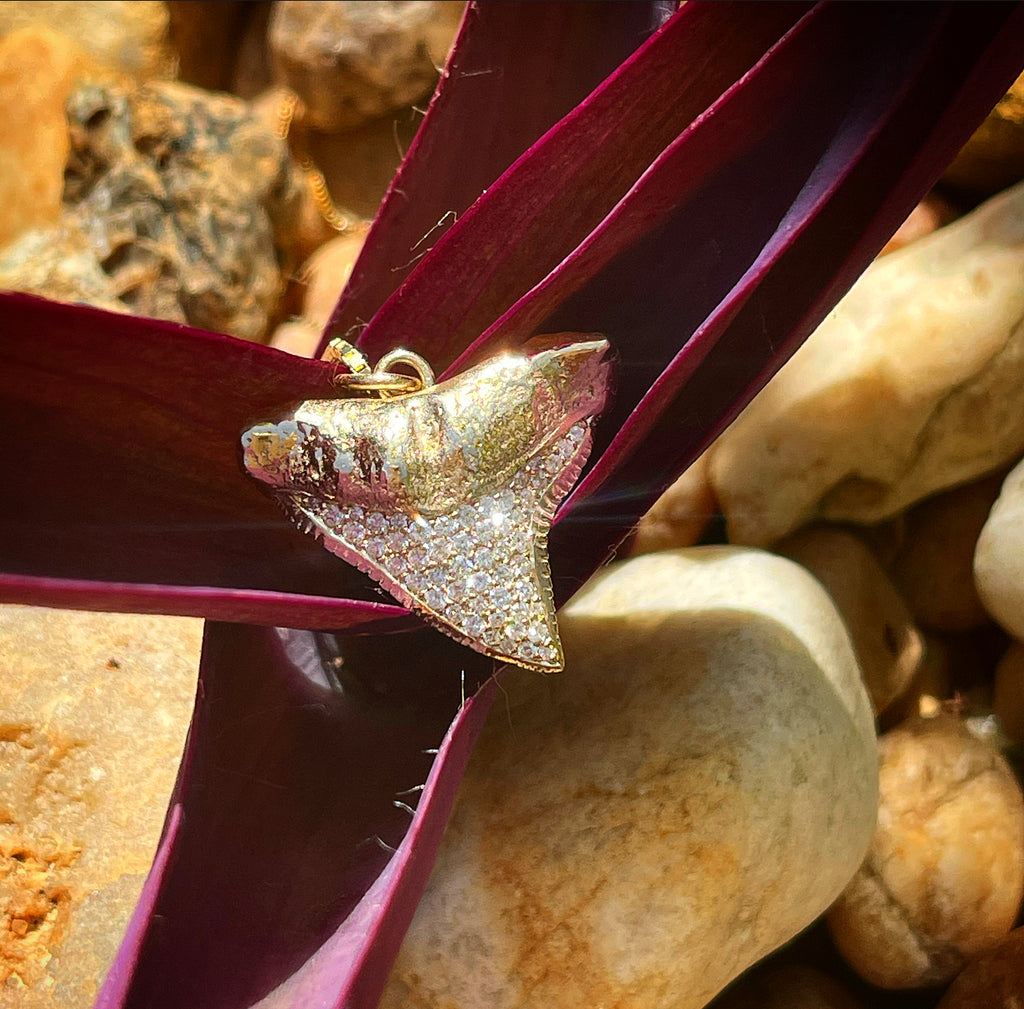 1023 - Solid Gold and Diamond Bull Shark Tooth Necklace