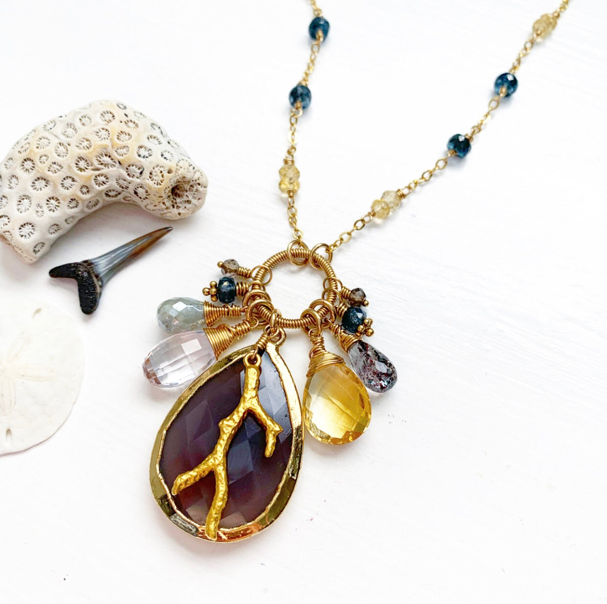 688-One of a Kind Gemstone Drop Necklace