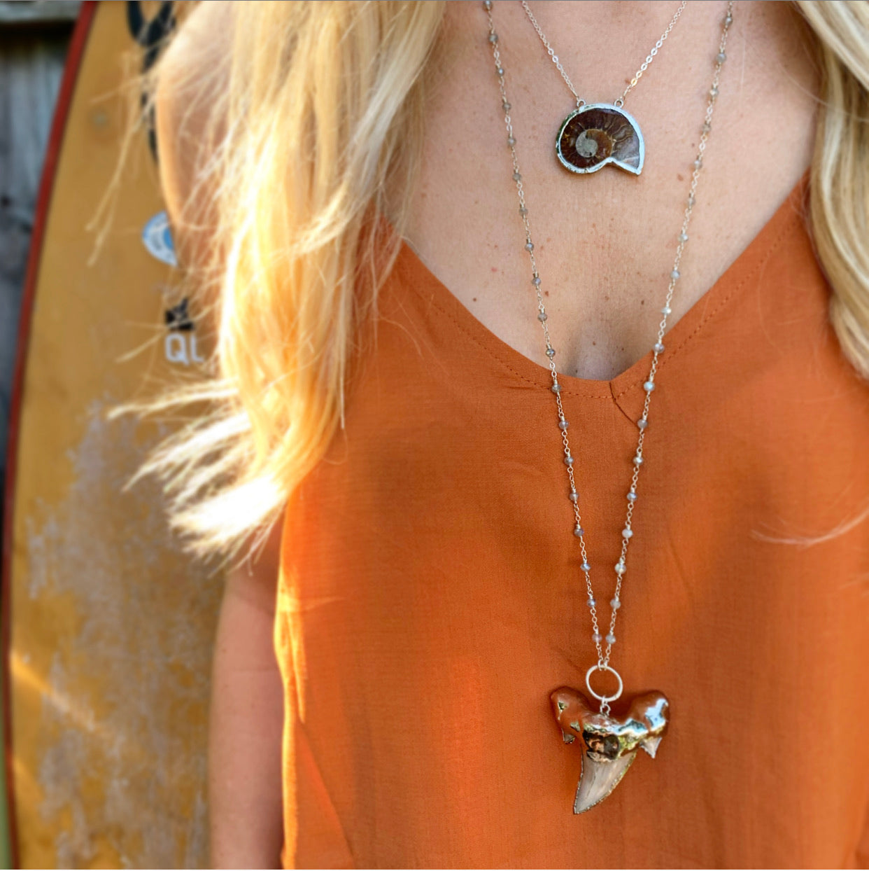 880-Shark Tooth & Gemstone Necklace
