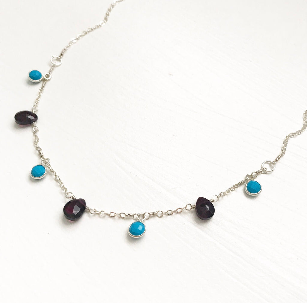 418-Gemstone Layer Necklace