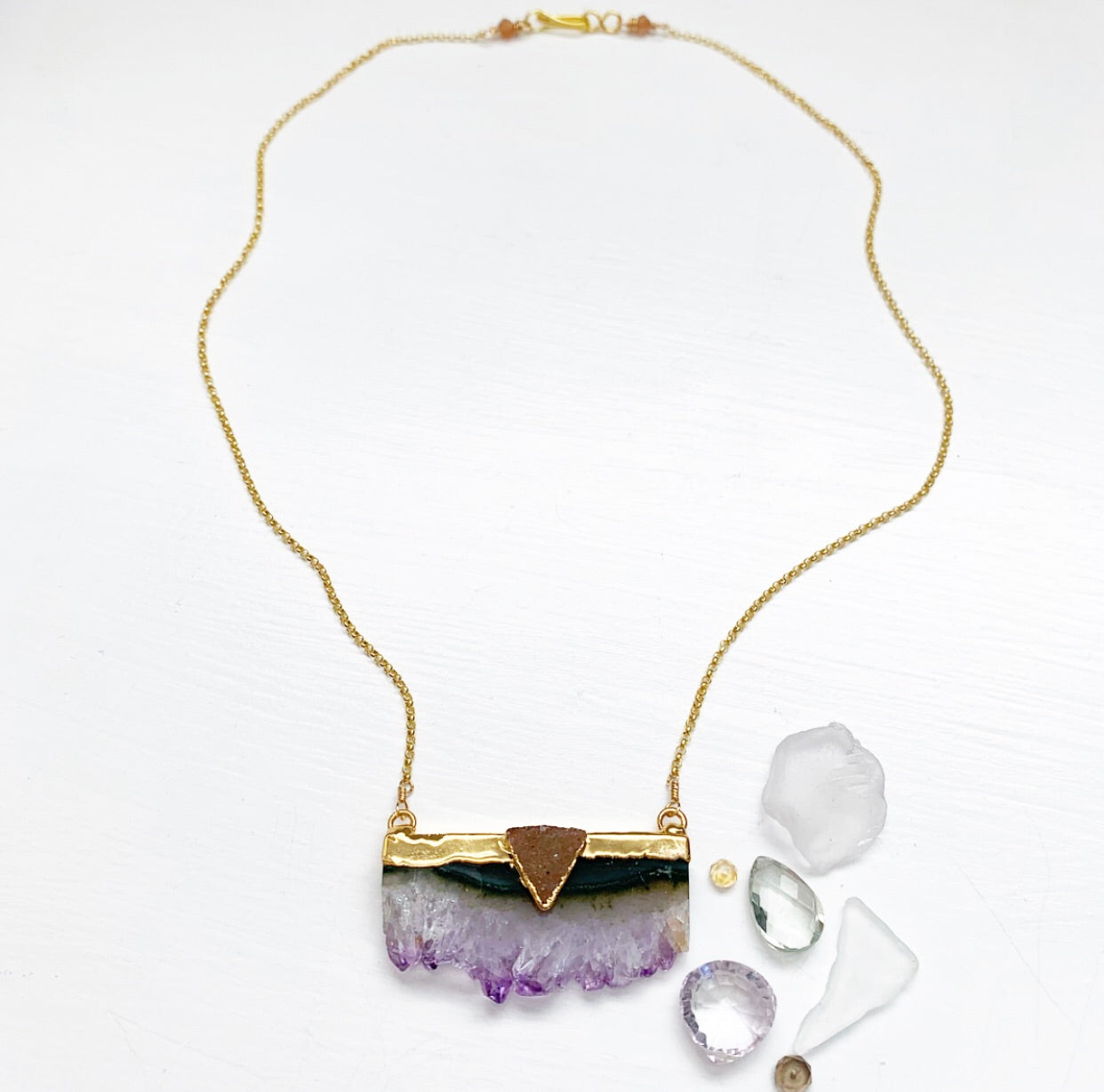 693-Amethyst Stalactite and Druzy Necklace