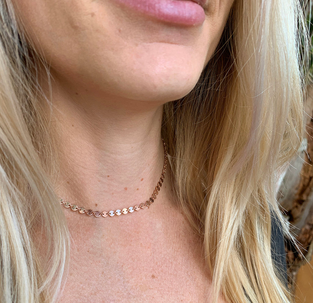 986 - Rose Gold Disco Chain Choker