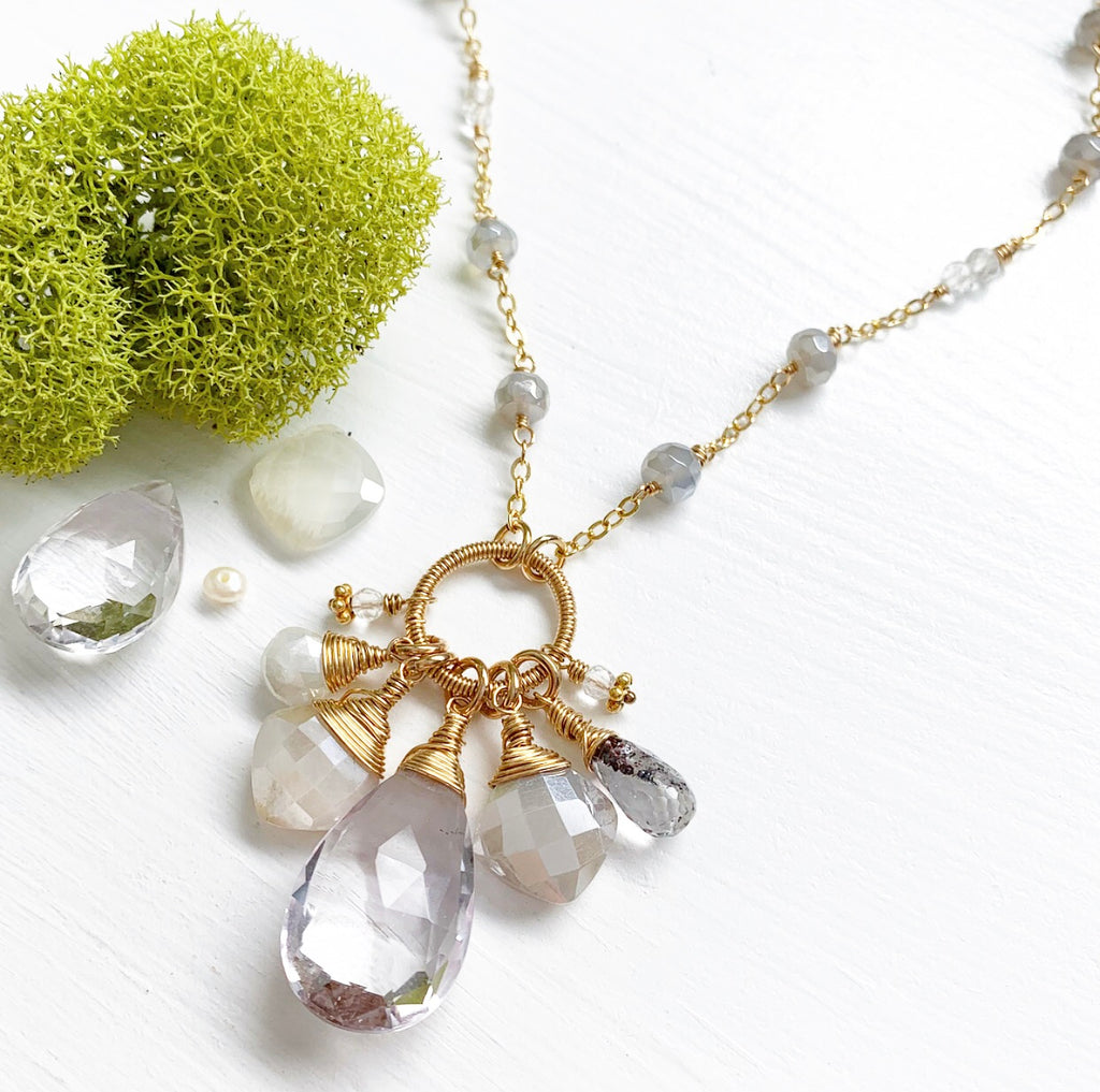 658-One of a Kind Gemstone Drop Necklace
