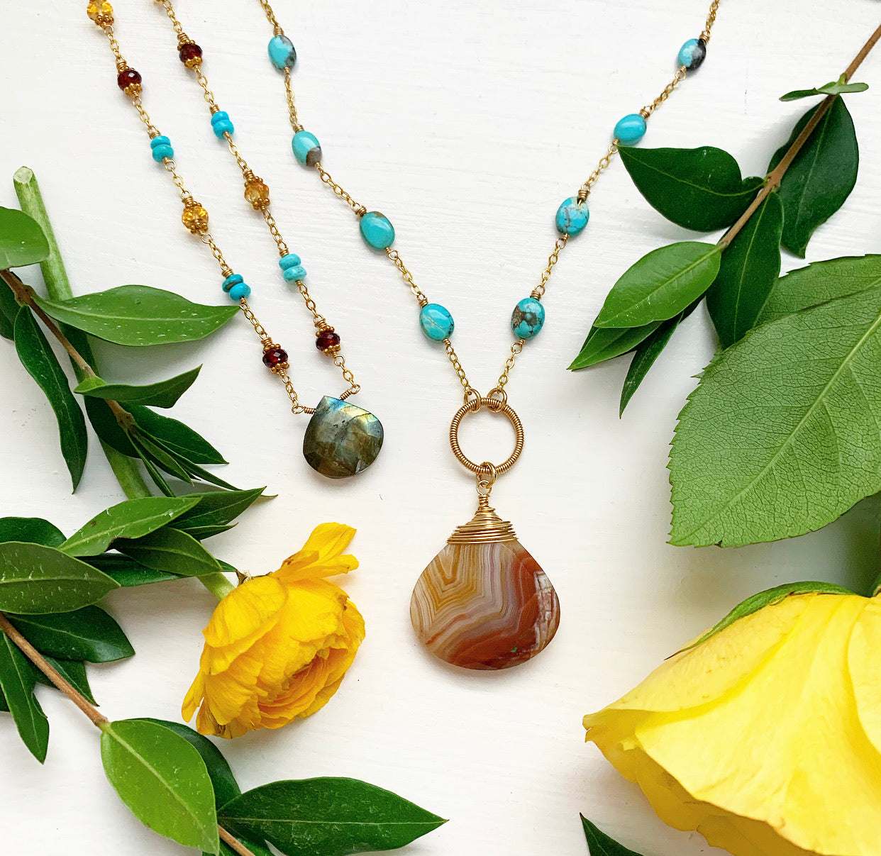 963-One of a Kind Gemstone Drop Necklace