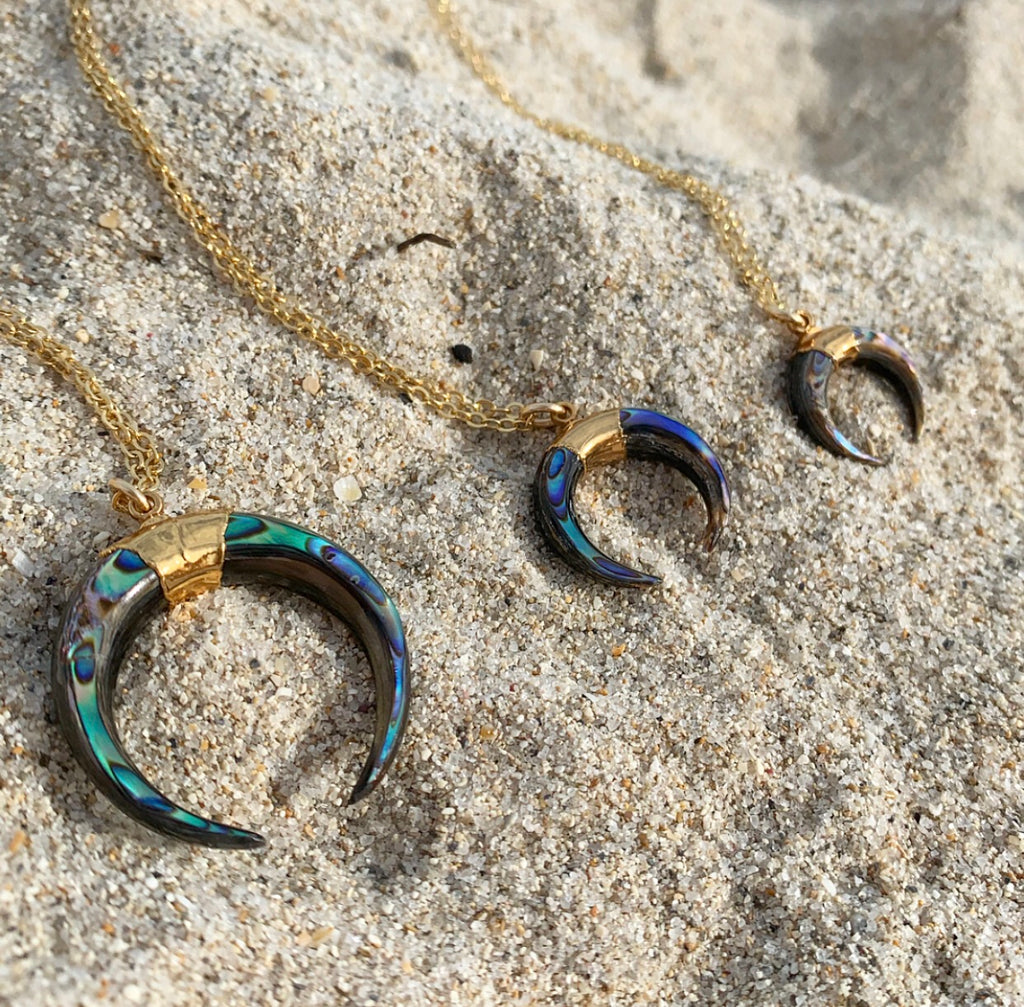 684-Small Abalone Crescent Necklace