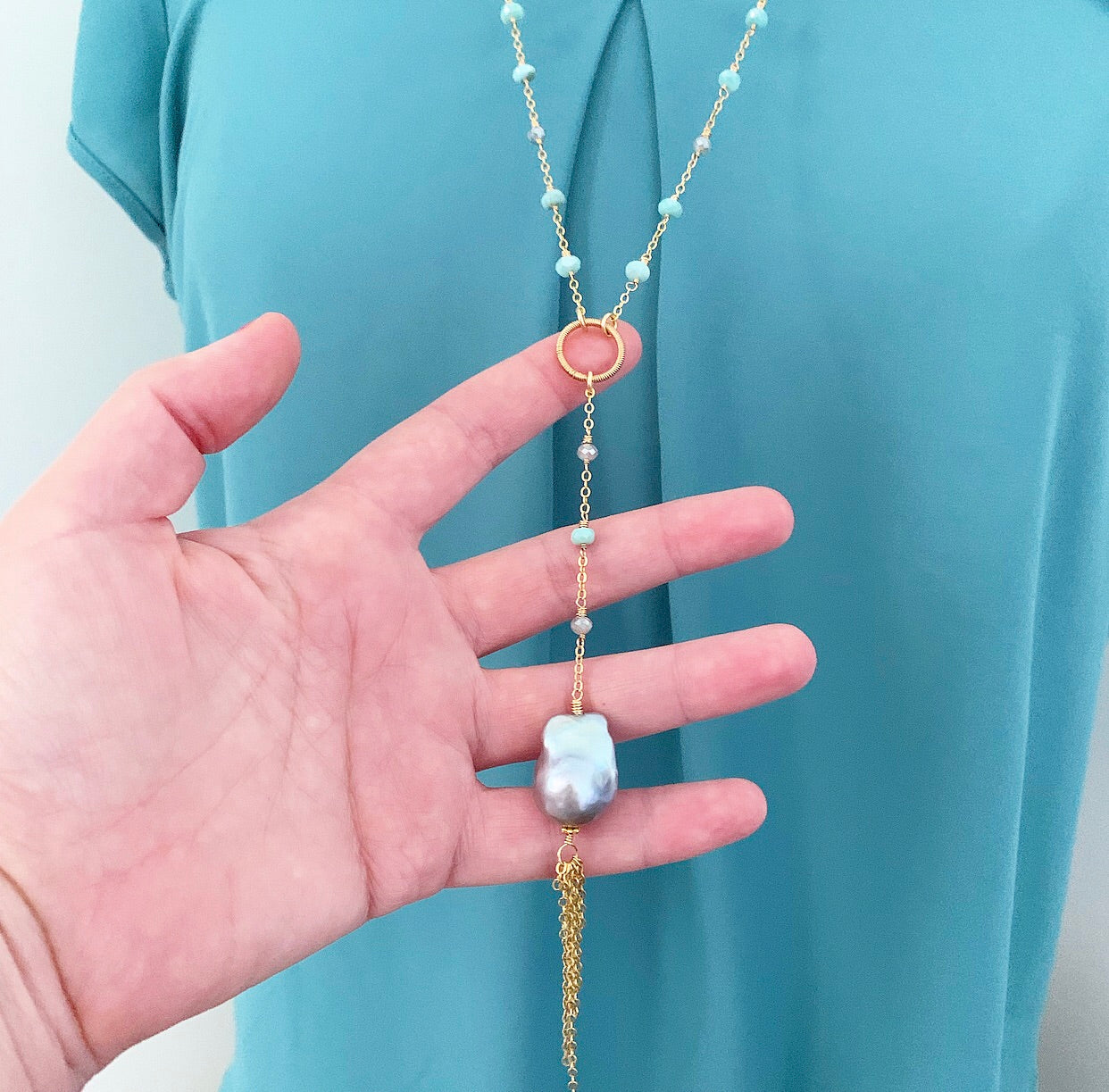 803-Gemstone & Pearl Necklace