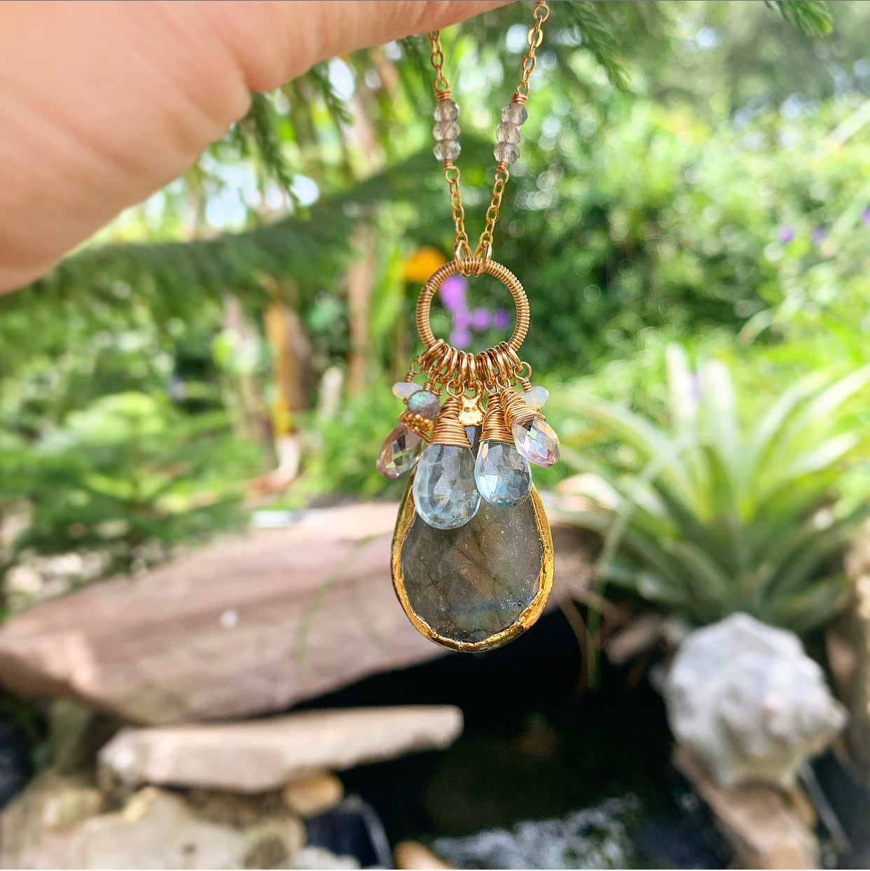 950-One of a Kind Gemstone Drop Necklace