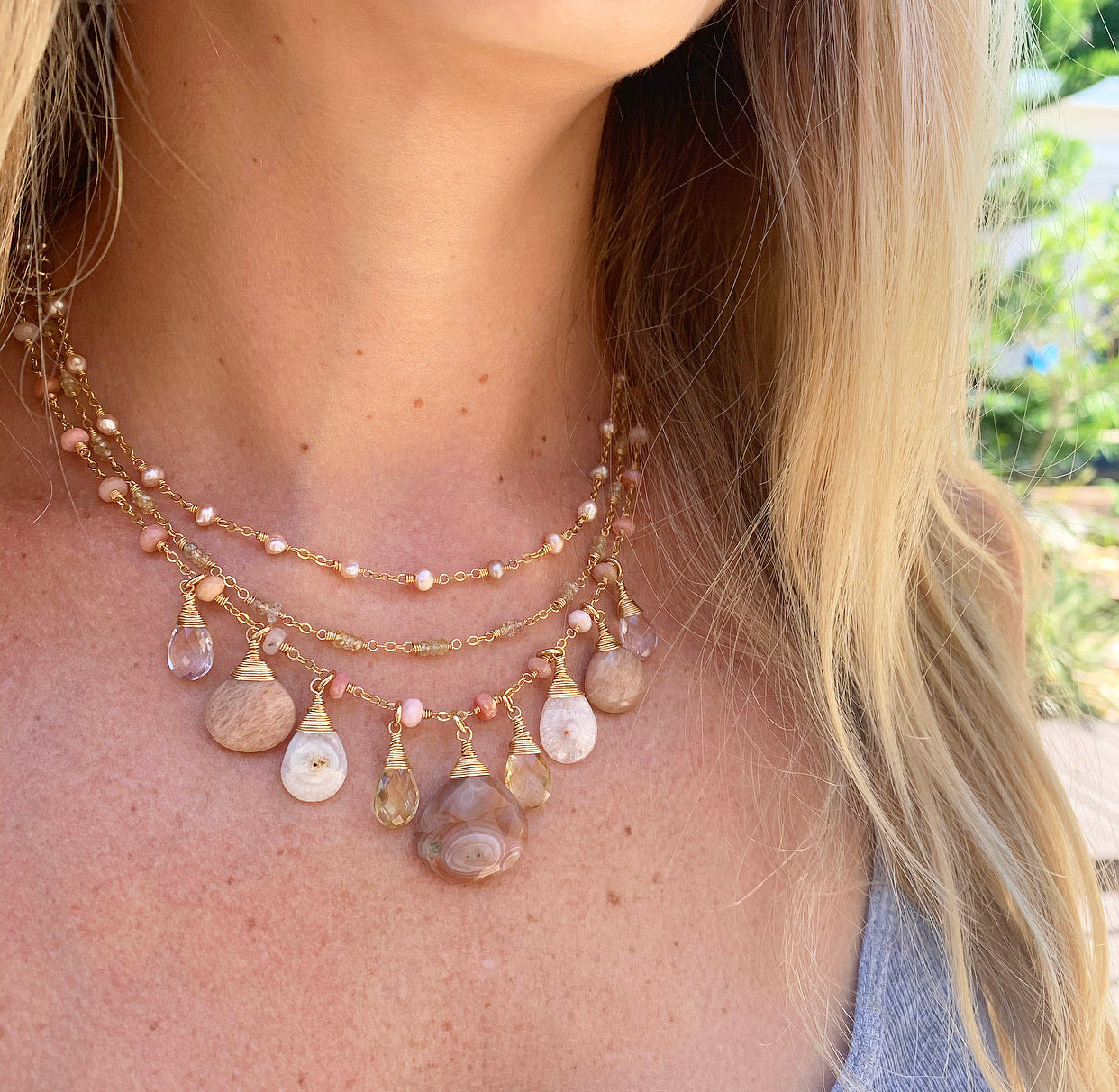 966-One of a Kind Gemstone Triple Layer Necklace
