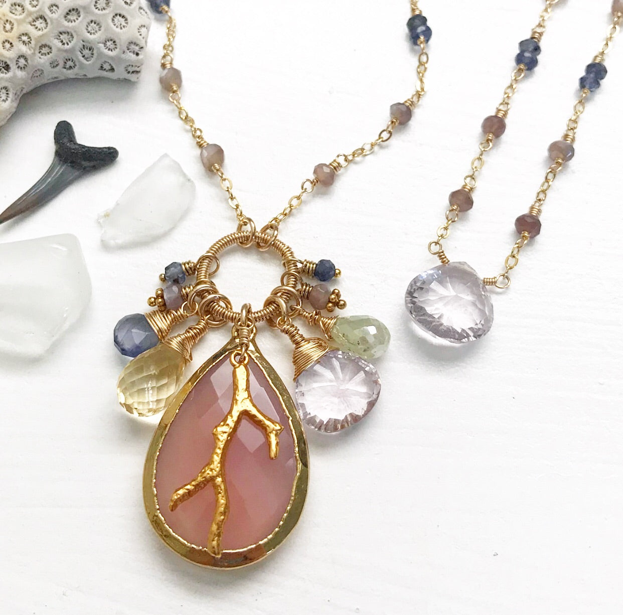 647-One of a Kind Gemstone Drop Necklace