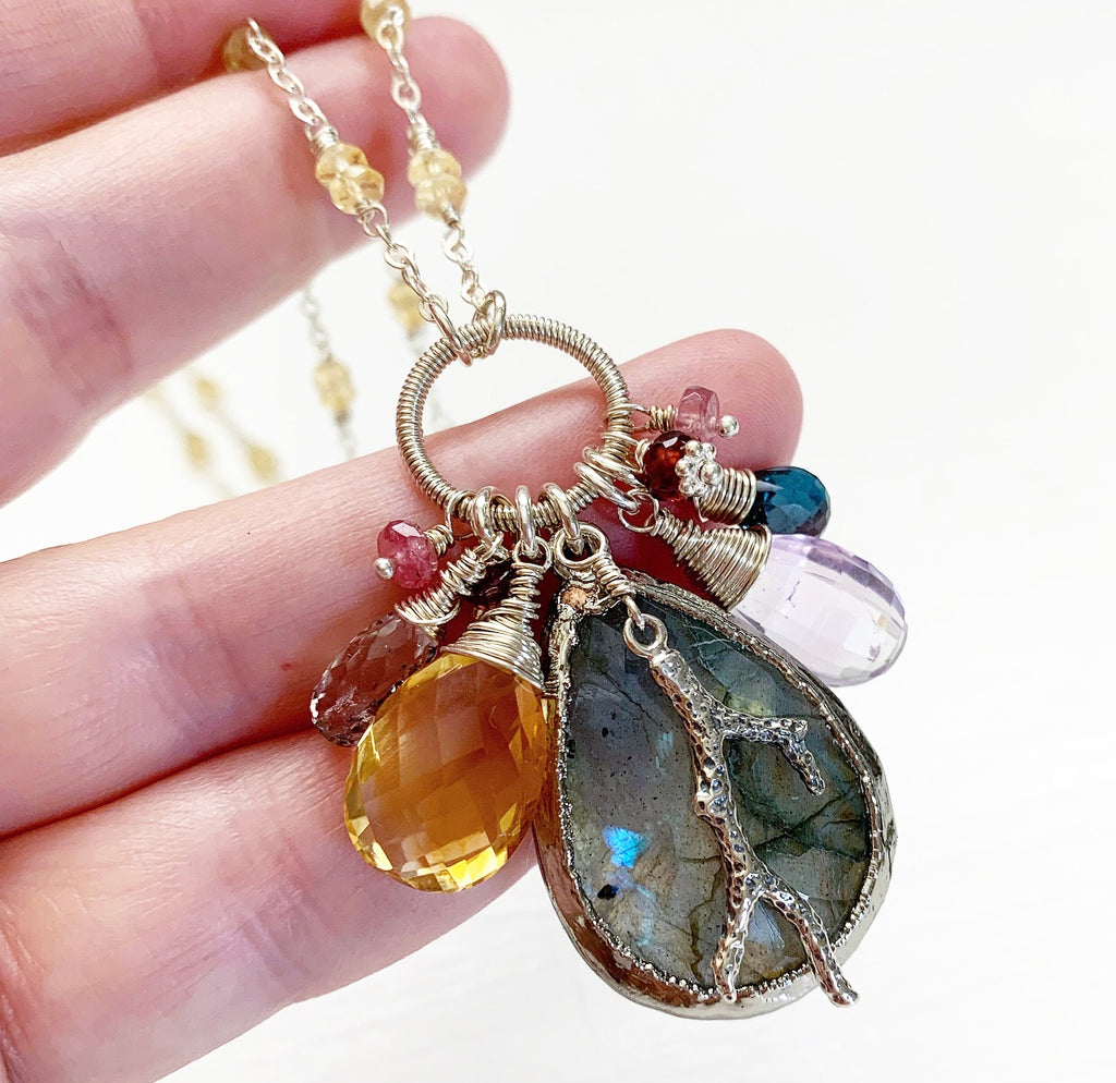 815-One of a Kind Gemstone Drop Necklace