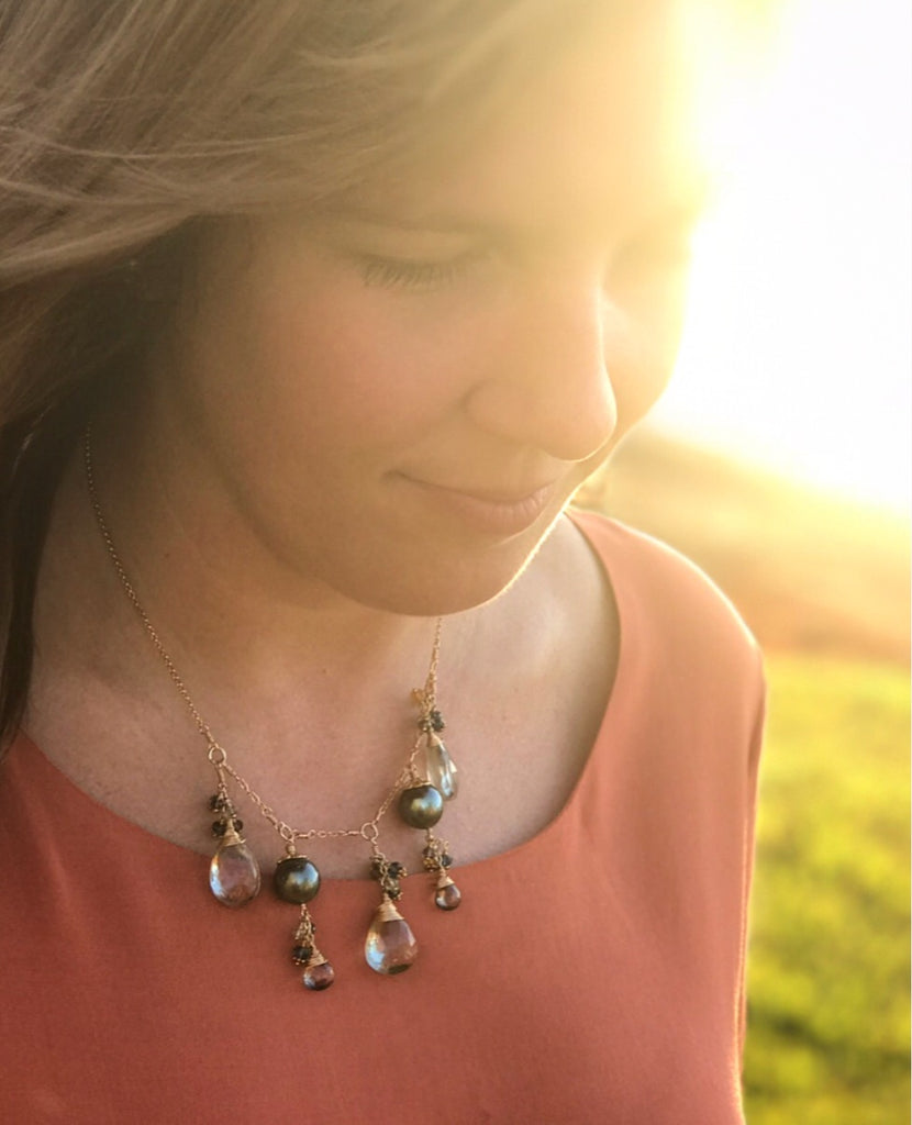 413-Tahitian Pearl and Gemstone Necklace