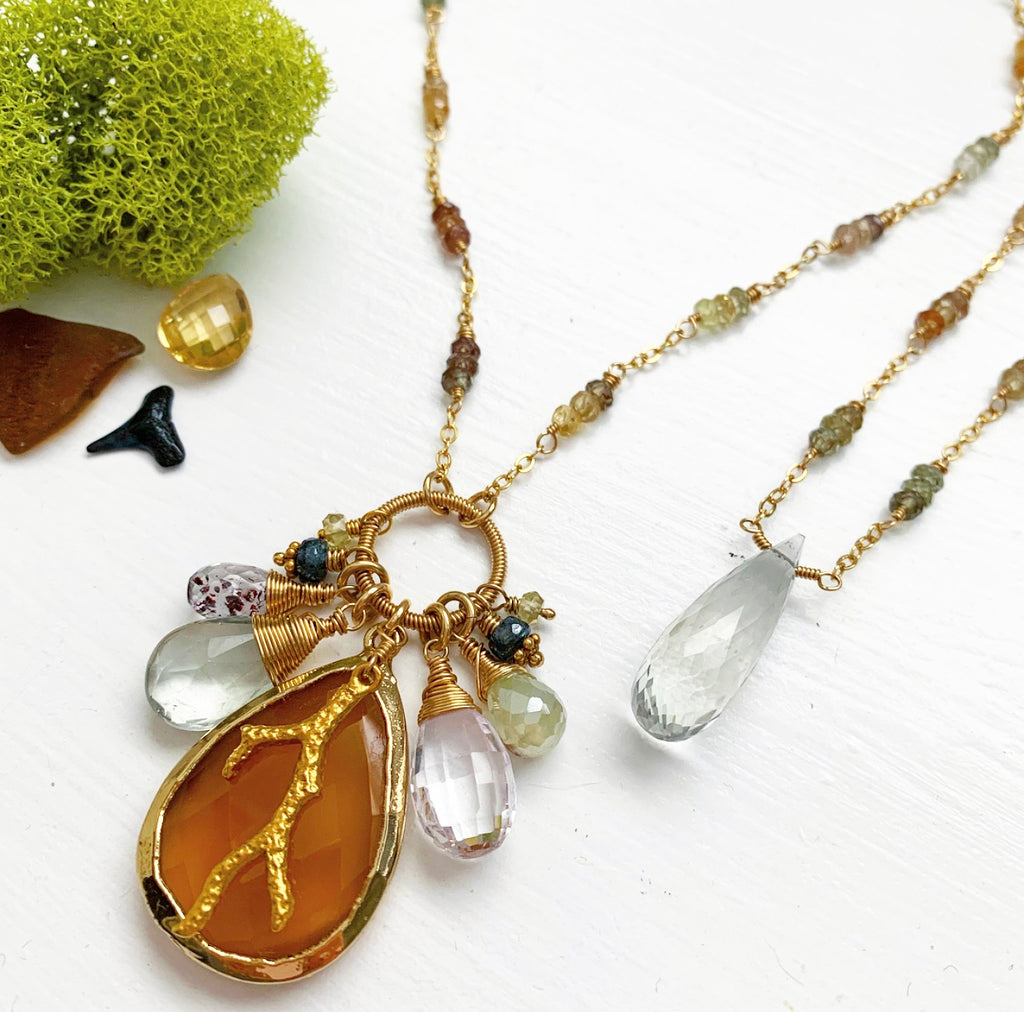 714-One of a Kind Gemstone Drop Necklace
