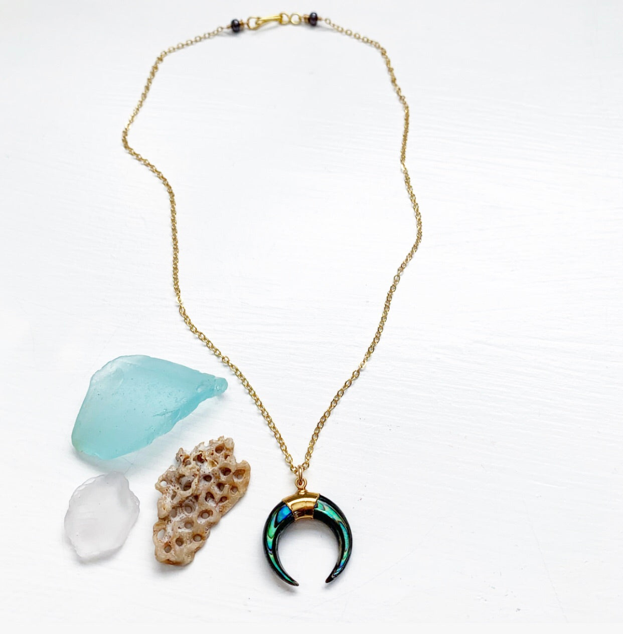 682-Medium Abalone Crescent Necklace