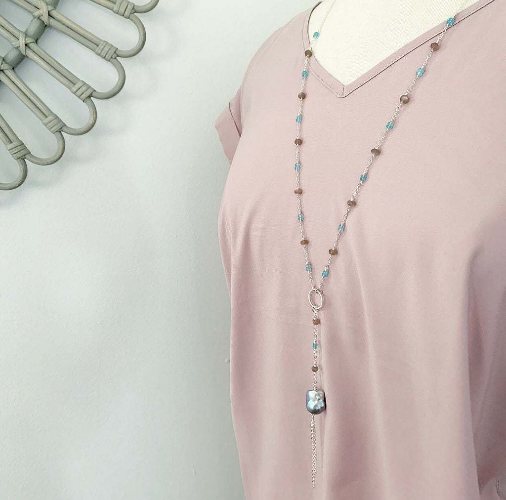 802-Gemstone & Pearl Necklace