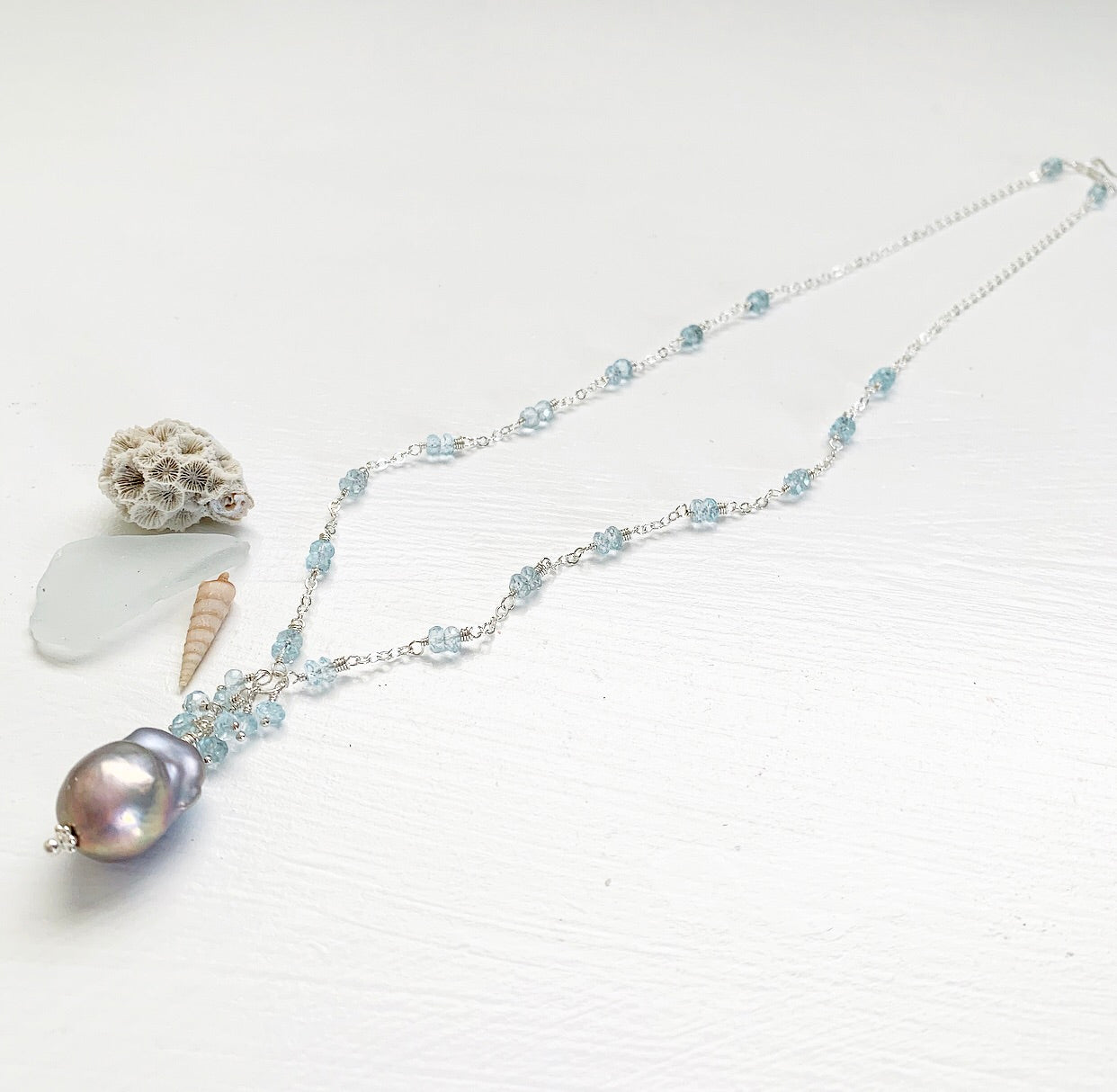 786-Gemstone & Pearl Necklace