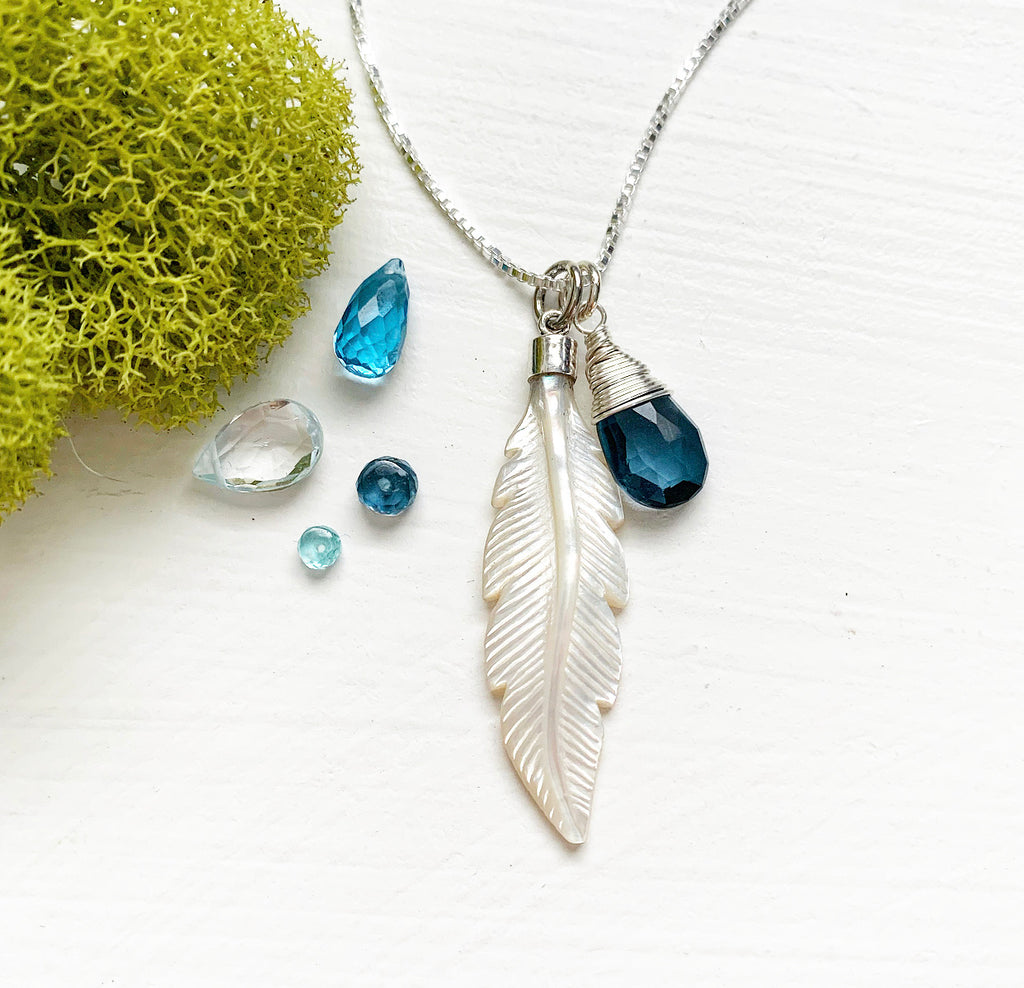 969-Mother Of Pearl Feather & Gemstone Necklace