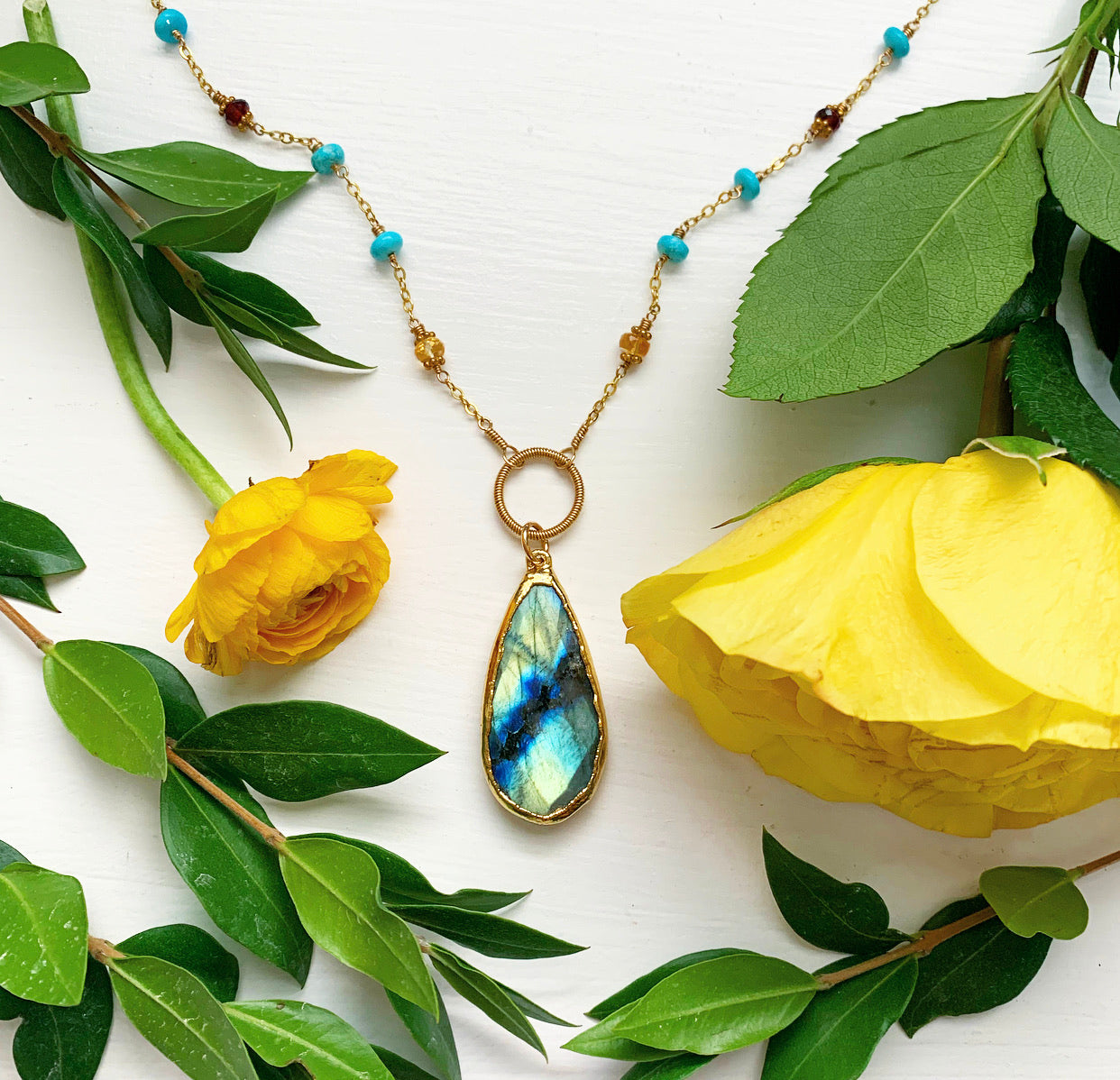 937-One of a Kind Labradorite & Gemstone Necklace