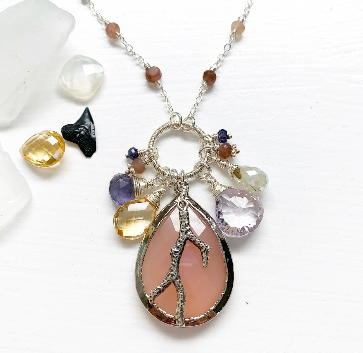 660-One of a Kind Gemstone Drop Necklace