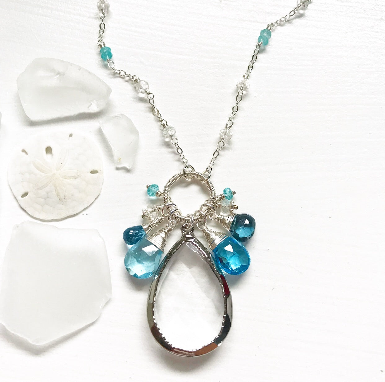 654-One of a Kind Gemstone Drop Necklace