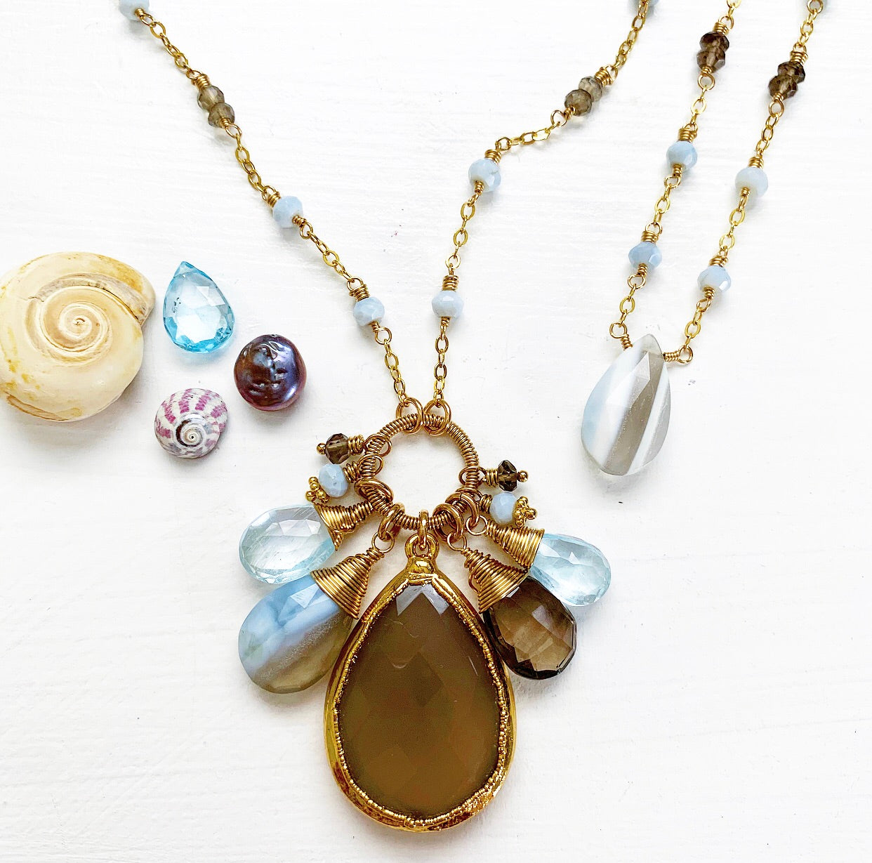 823-One of a Kind Gemstone Drop Necklace