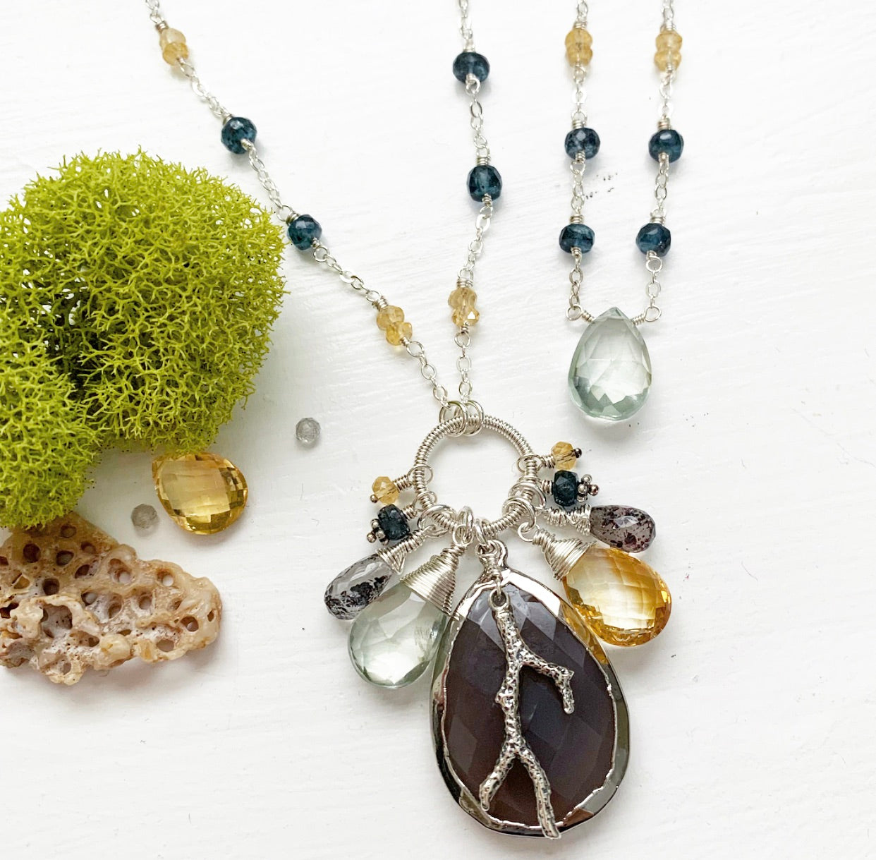 706-One of a Kind Gemstone Drop Necklace