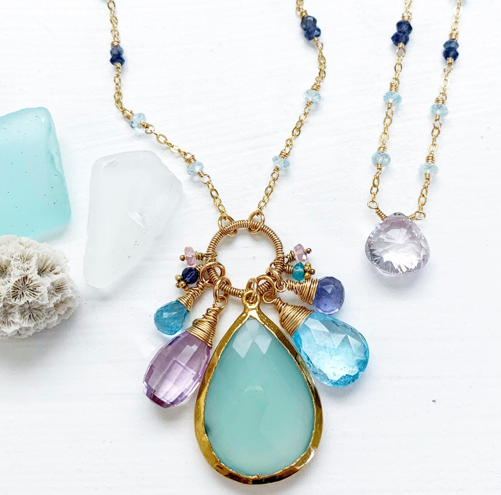 656-One of a Kind Gemstone Drop Necklace
