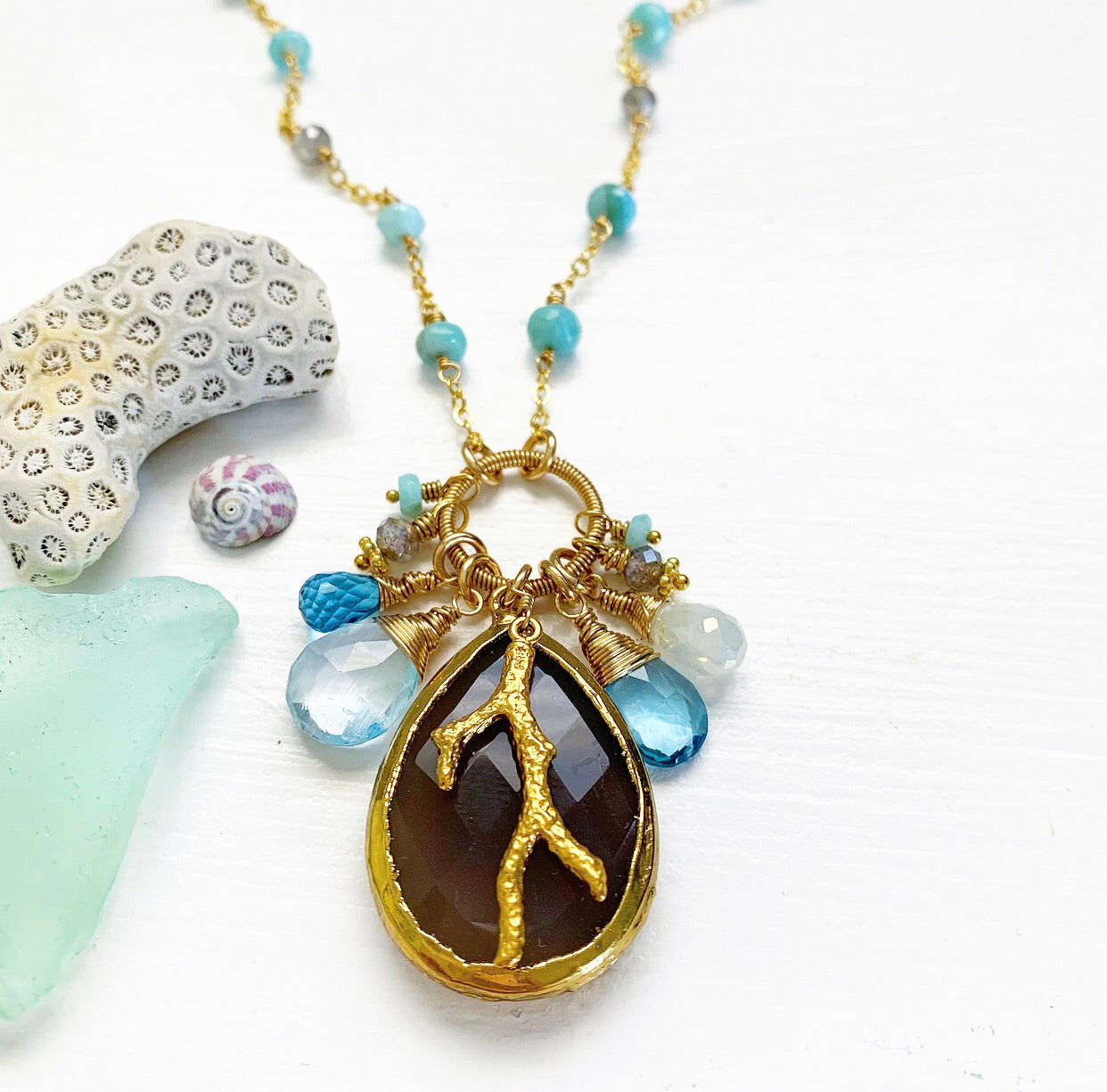 783-One of a Kind Gemstone Drop Necklace