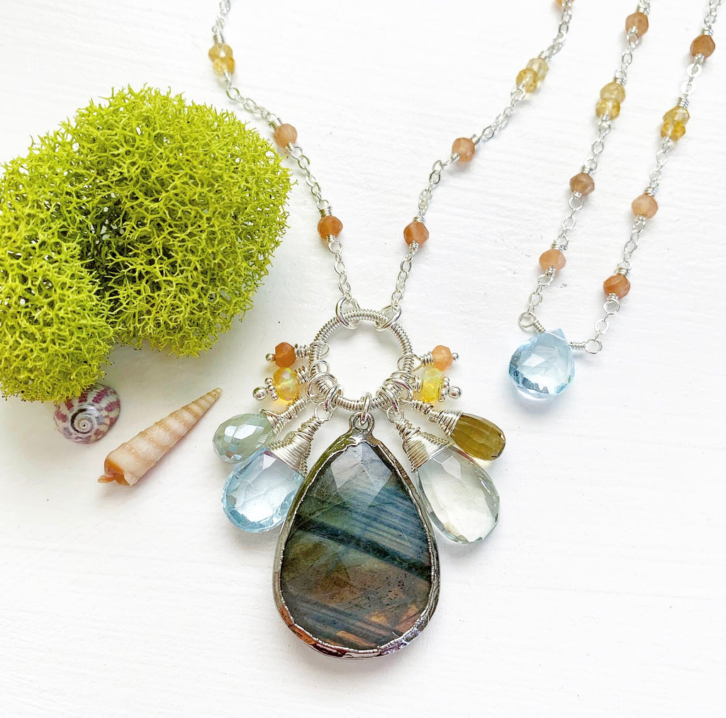 791-One of a Kind Gemstone Drop Necklace