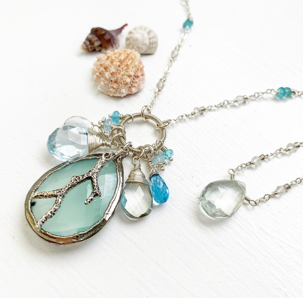 812-One of a Kind Gemstone Drop Necklace