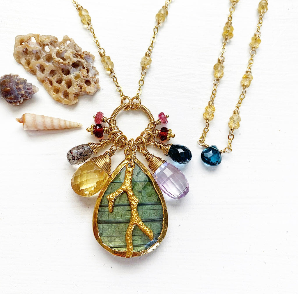712-One of a Kind Gemstone Drop Necklace