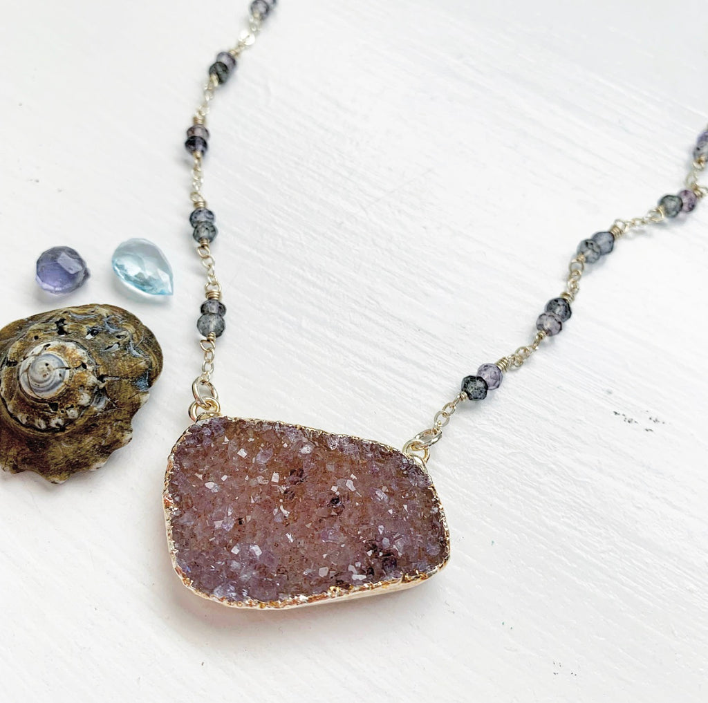 772-Druzy & Gemstone Necklace