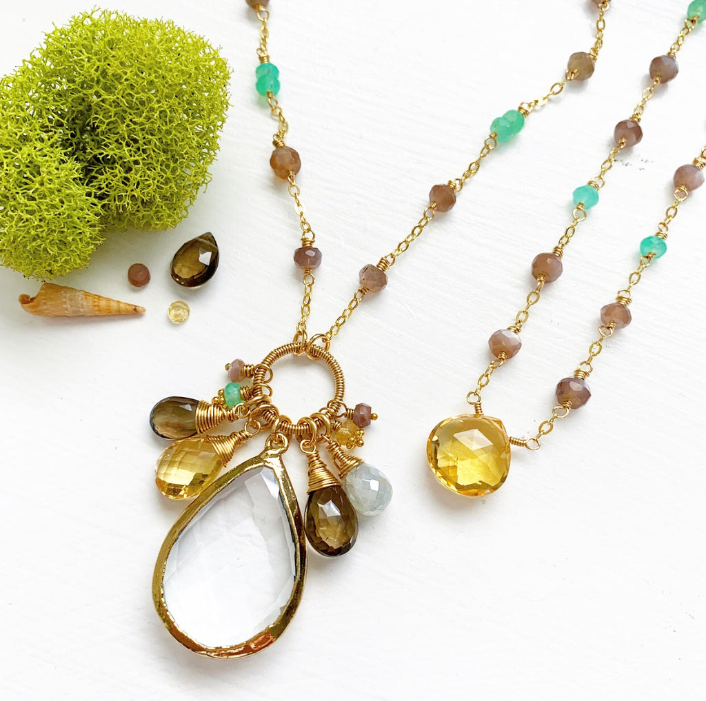 768-One of a Kind Gemstone Drop Necklace