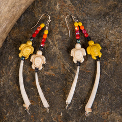 Dentalium Turtle Earrings