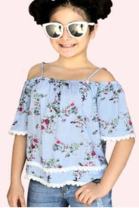 Girl's Overlay Off-Shoulder Fashion Top w/ Crochet & Floral Stripe Print