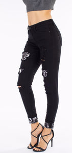 Black jeans with Leopard patches and cuffs