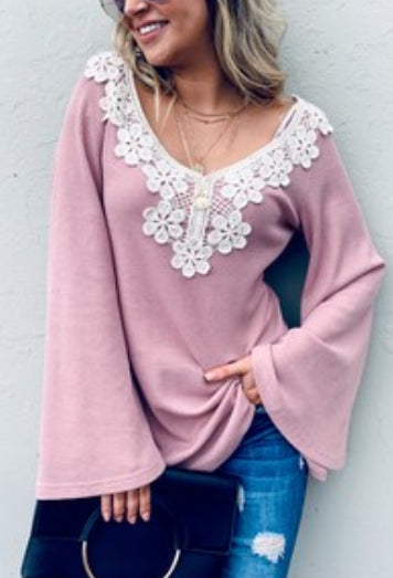 Lace Detail Bell Sleeve Loose Fit Casual Top