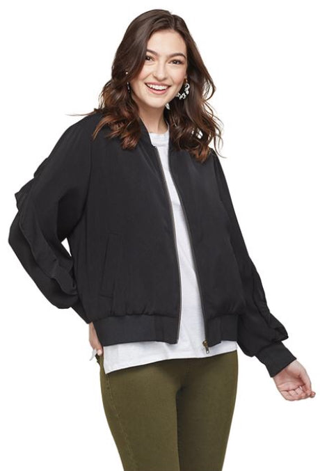 NOLAN RUFFLE SLEEVE BOMBER JACKET IN BLACK