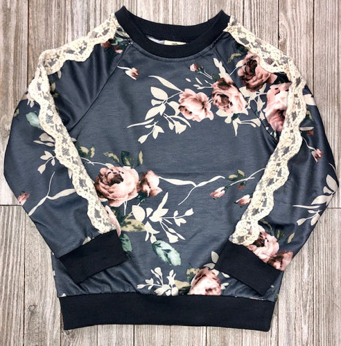 Floral Swearshirt w/ Lace trim