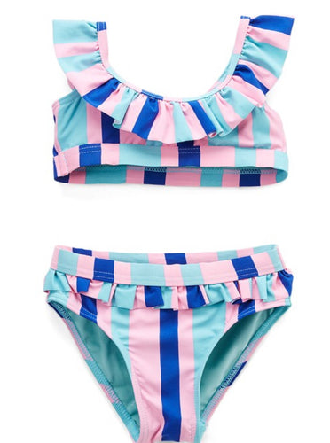 Kids Ruffled Collar Two Piece Swimsuit Set