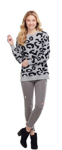 BAYE LEOPARD KNIT SWEATER IN GRAY