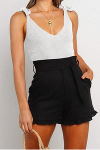 RUFFLED TRIM HIGH WAIST GETAWAY SHORTS