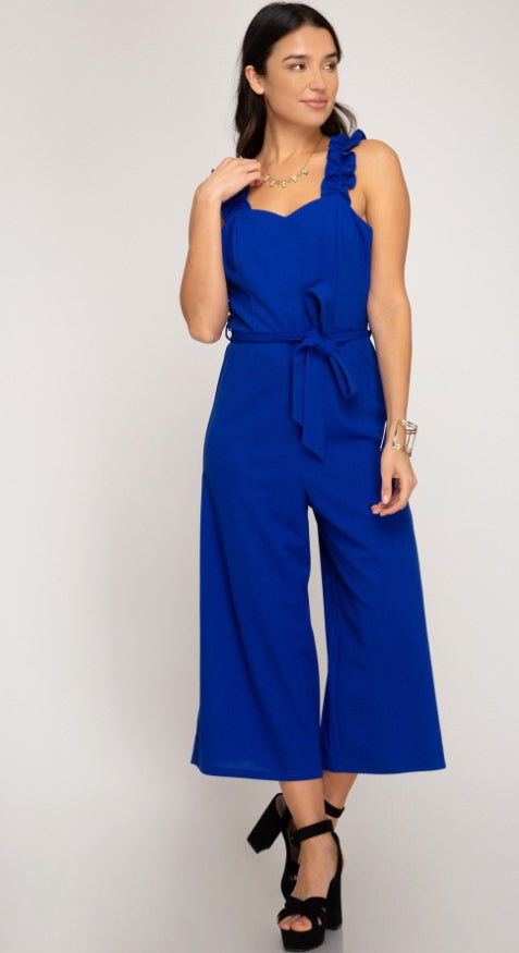 RUFFLE STRAP JUMPSUIT WITH WAIST RIBBON