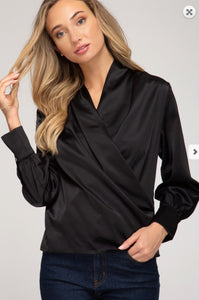 LONG SLEEVE SURPLICE SATIN BLOUSE