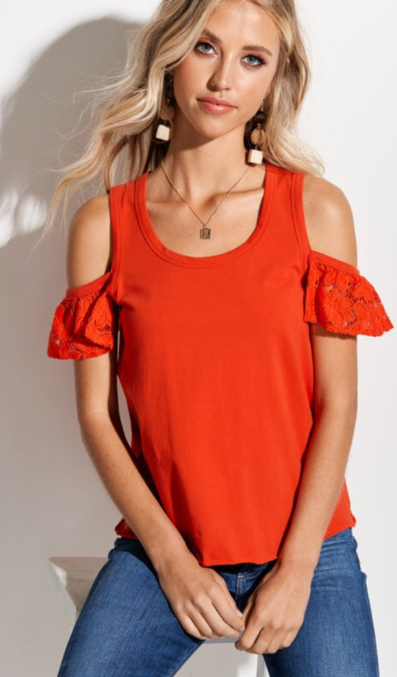 floral lace ruffled sleeves cotton top cold shoulder design raw hem stitching finish