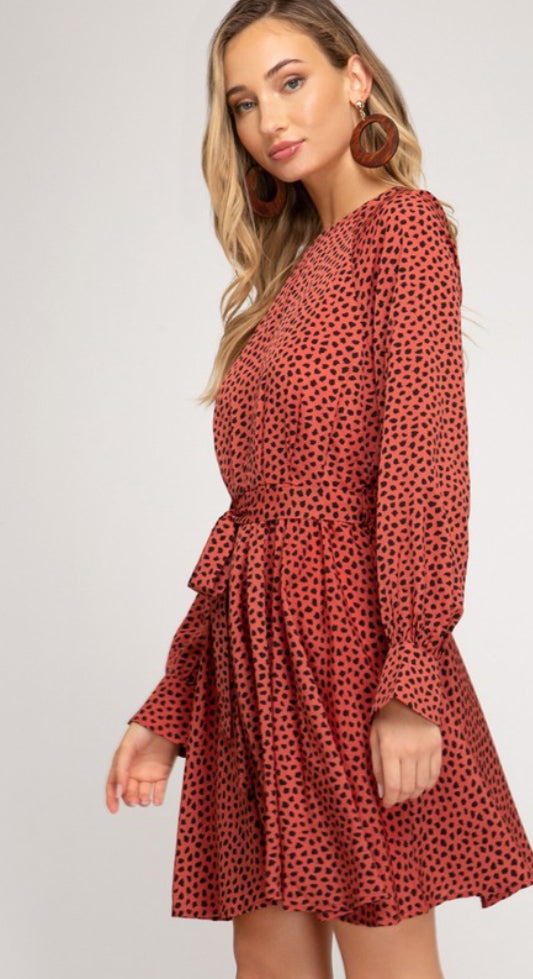 SPOT PRINTED LONG SLEEVE WOVEN DRESS WITH SASH