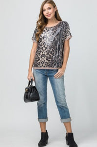 Sequin leopard print scoop-neck top featuring contrast trim detail