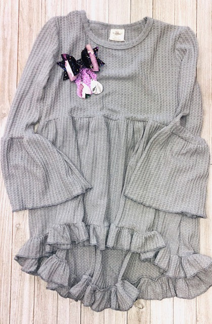 Slate grey thermal bell sleeved tunic