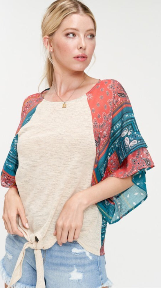 ethnic paisley printed wide layered ruffle sleeve top front tie closure combination with lightweight and soft knit relaxed fit