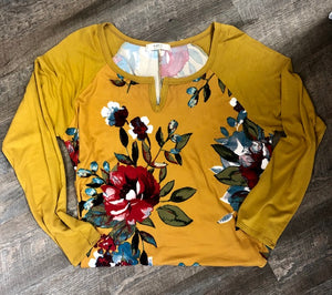Plus-Floral knit tunic-Mustard