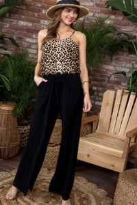 Adjustable Strap Contrast Leopard Print Top Waist Elastic With Spaghetti Side Pocket Jumpsuit